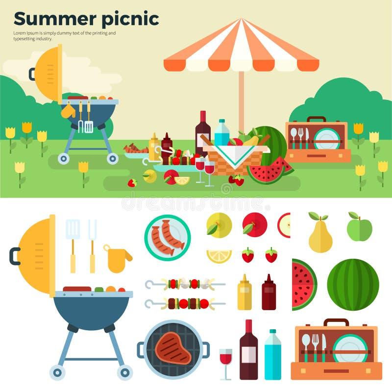 Пикник лета на луге под зонтиком иллюстрация штока