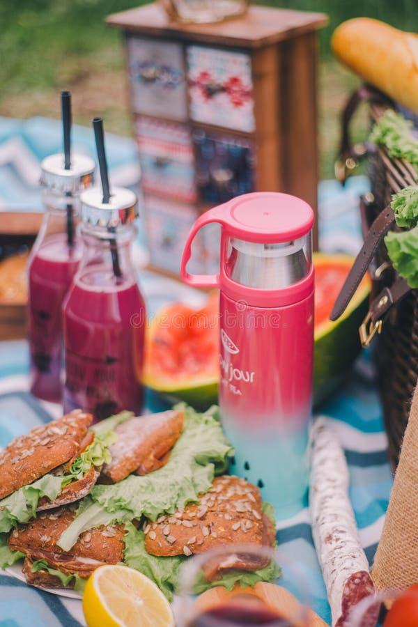 Пикник конца-вверх в природе Сэндвичи, торт, thermos, напитки и виноградины стоковая фотография rf