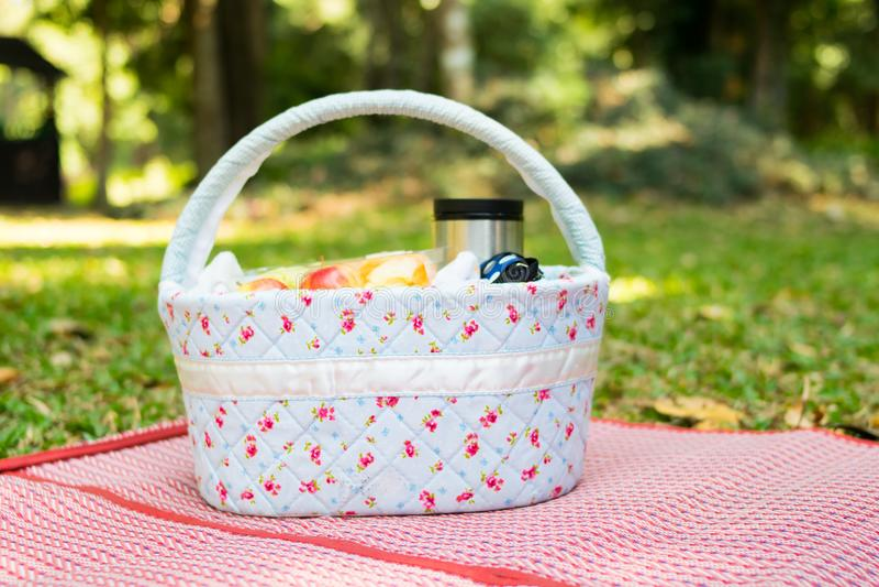 пикник корзины на луге стоковое изображение