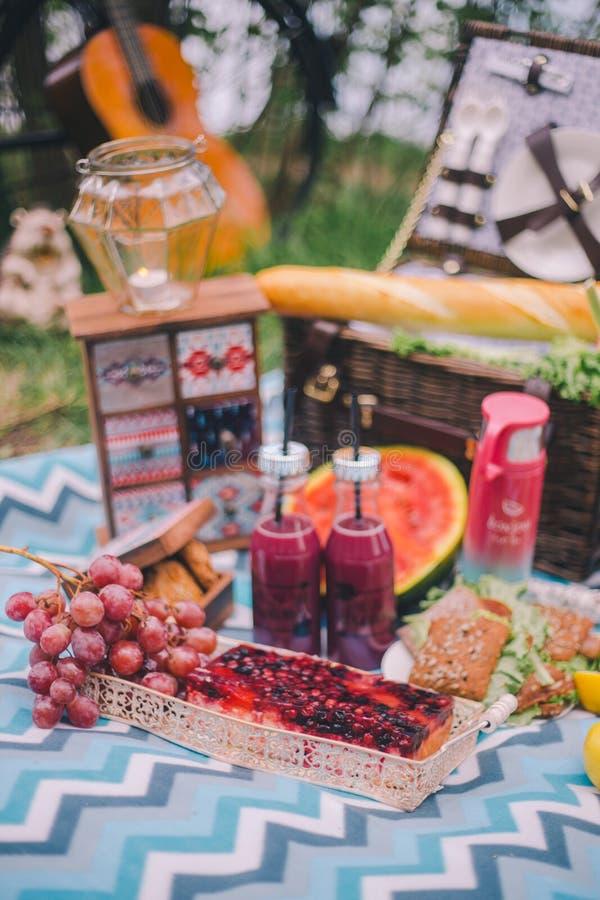 Пикник лета дизайна в природе На шотландке корзина еды стоковое изображение
