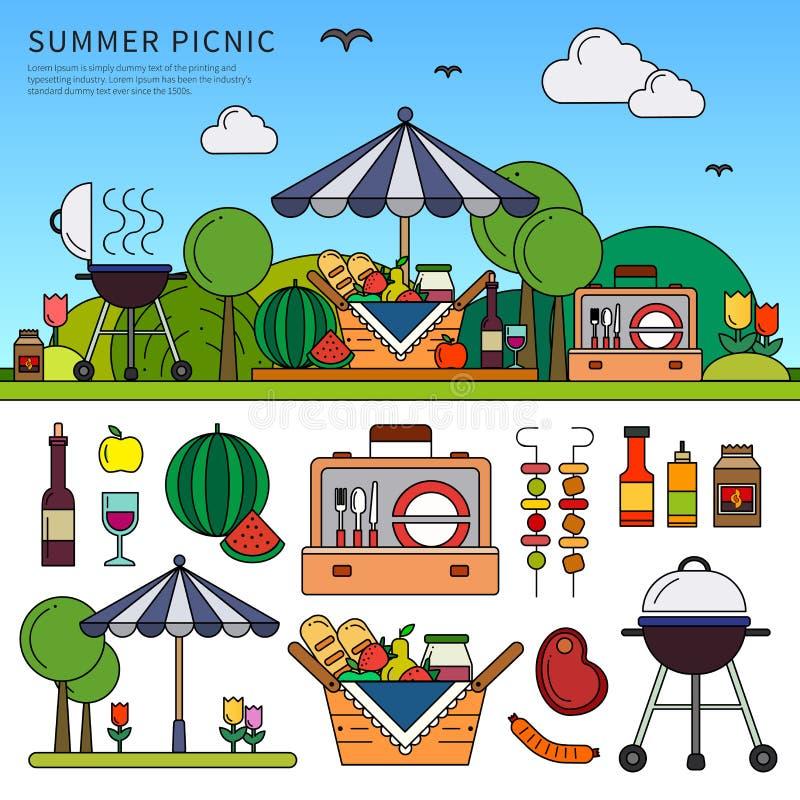 Пикник на летний день иллюстрация вектора
