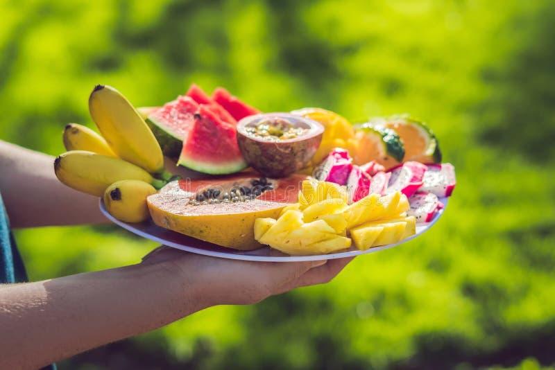 Пикник на парке на траве: Плита agai тропических плодоовощей стоковые фотографии rf