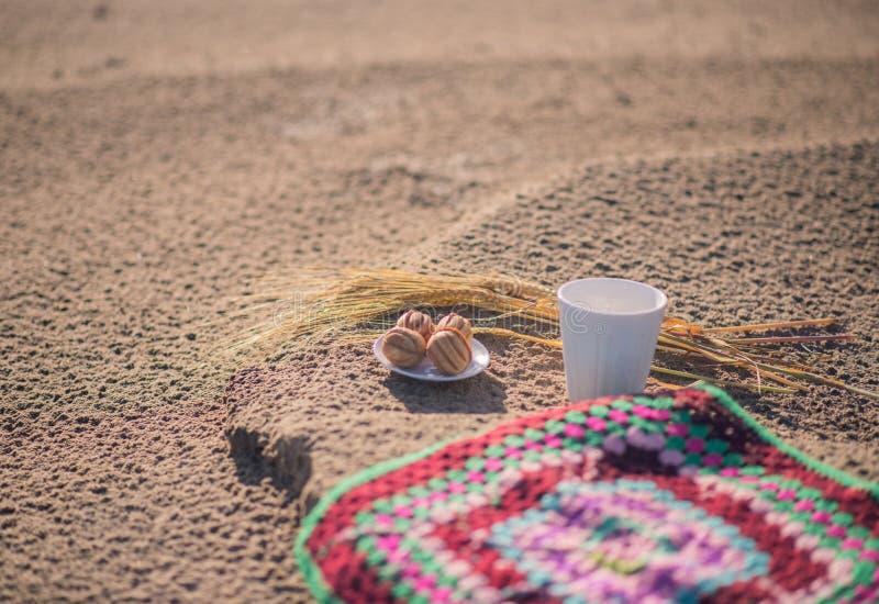 Пикник на пляже, кофе и помадках покрашенная ткань шерстей для усаживать E стоковая фотография