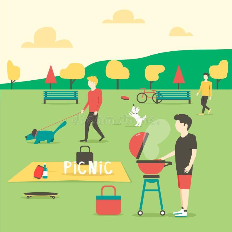 Пикник подготовлять мяса человека Партия лета в парке иллюстрация штока