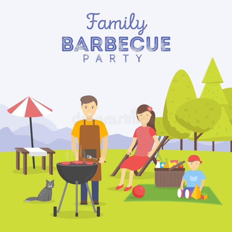 Пикник семьи Партия BBQ Еда и барбекю, лето и гриль иллюстрация штока