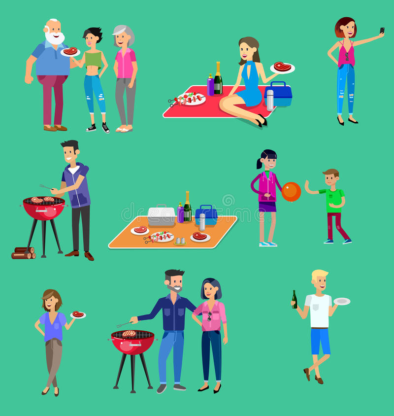 Пикник семьи Партия BBQ Еда и барбекю иллюстрация вектора