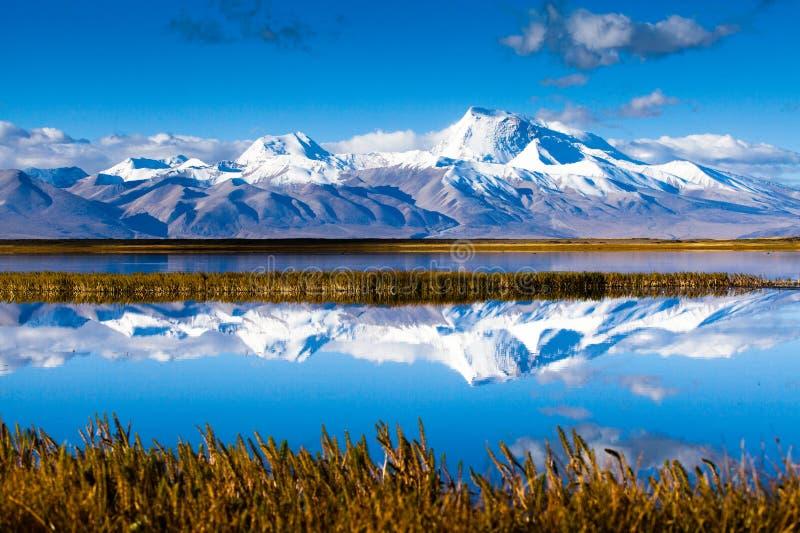 Пиковое Naimona'nyi озером Manasarovar стоковая фотография rf