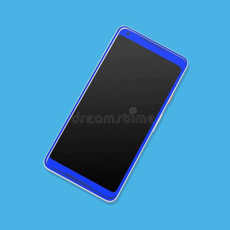 Пиксел XL андроида глумится вверх по голубому иллюстрация вектора