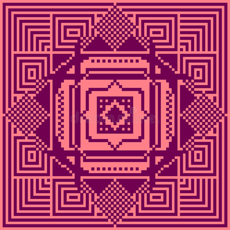 пиксела картины иллюстрации семьи искусства вектор цифрового счастливого безшовный Геометрическая иллюстрация картины иллюстрация штока
