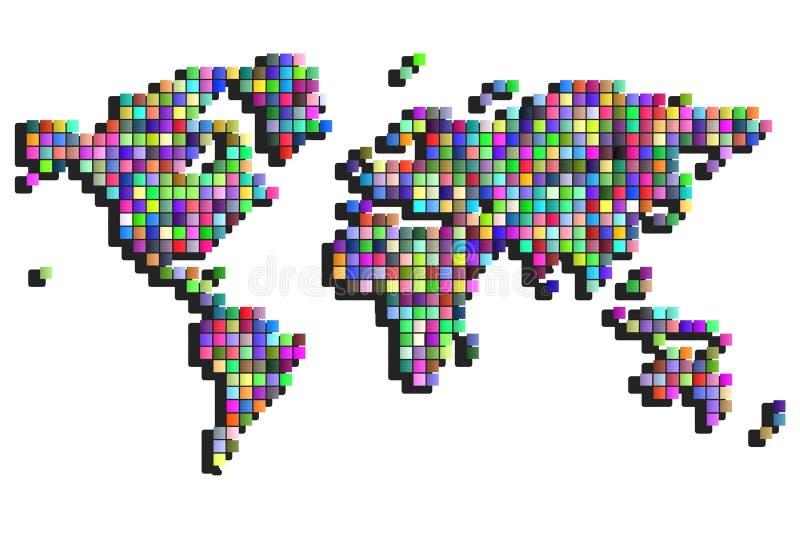 Пикселы квадрата карты мира иллюстрация штока