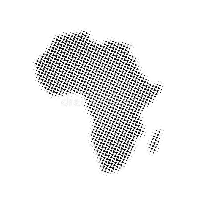 Пиктограмма вектора полутонового изображения треугольника карты Африки поставленный точки символ значка карты Африки Картина полу иллюстрация штока