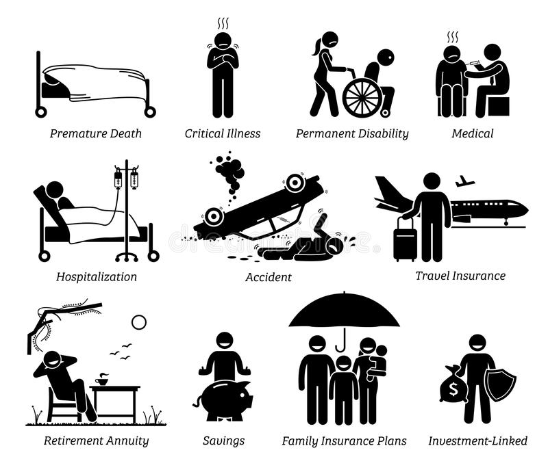 Пиктограмма значков предохранения от страхования жизни бесплатная иллюстрация
