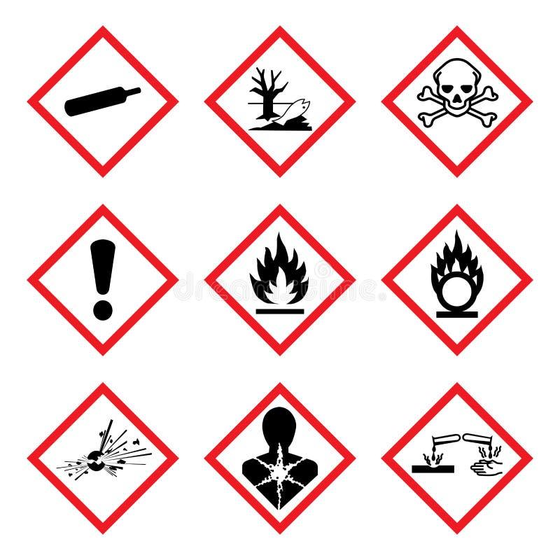 Пиктограмма опасности GHS 9 новая Предупредительный знак WHMIS опасности, изолированная иллюстрация вектора иллюстрация штока