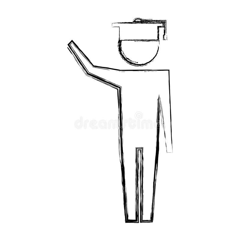 Пиктограмма человека с образованием шляпы градации иллюстрация вектора
