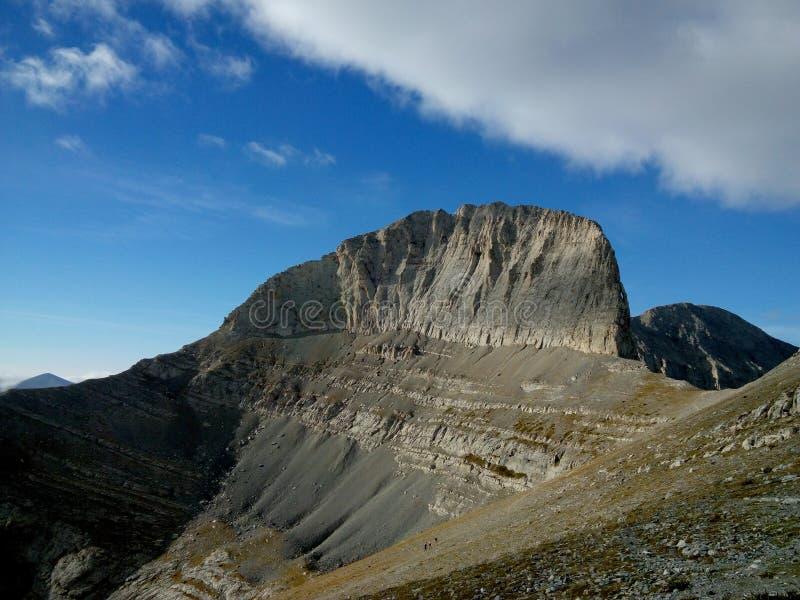 Пик Mitikas от плато муз поверх Mount Olympus, Греции стоковое фото rf