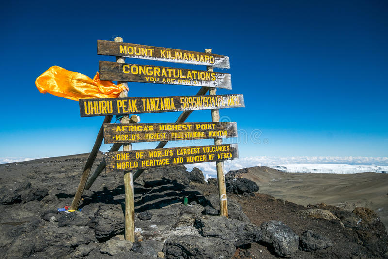 Пик Uhuru, Mount Kilimanjaro, Танзания стоковая фотография