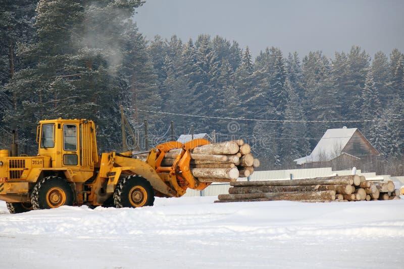 Пиломатериал загрузки Журналы леса, разгржают трактор испускает лучи тележка трейлера дороги пущи грязи нагруженная индустрией пе стоковое фото