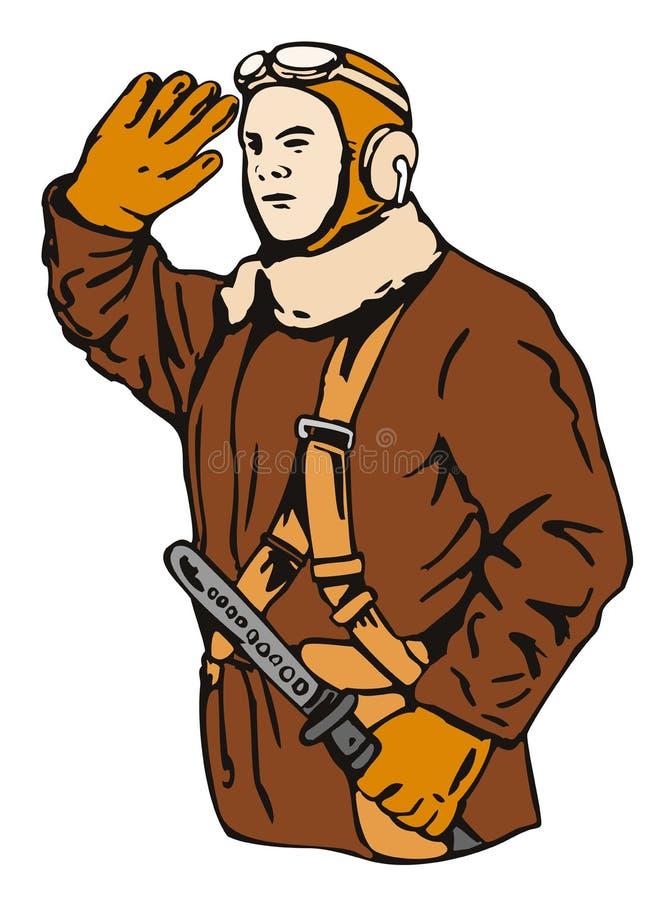 пилот kamikaze иллюстрация вектора