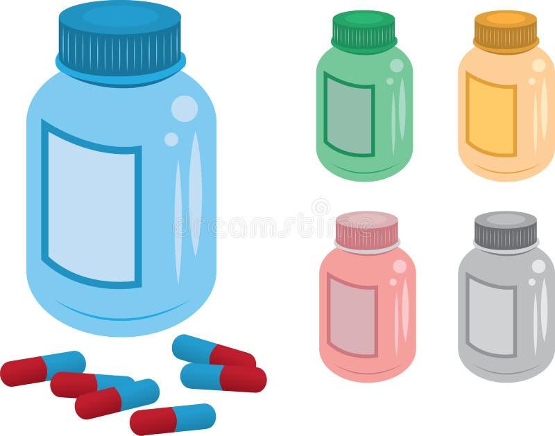 пилюлька бутылки иллюстрация вектора