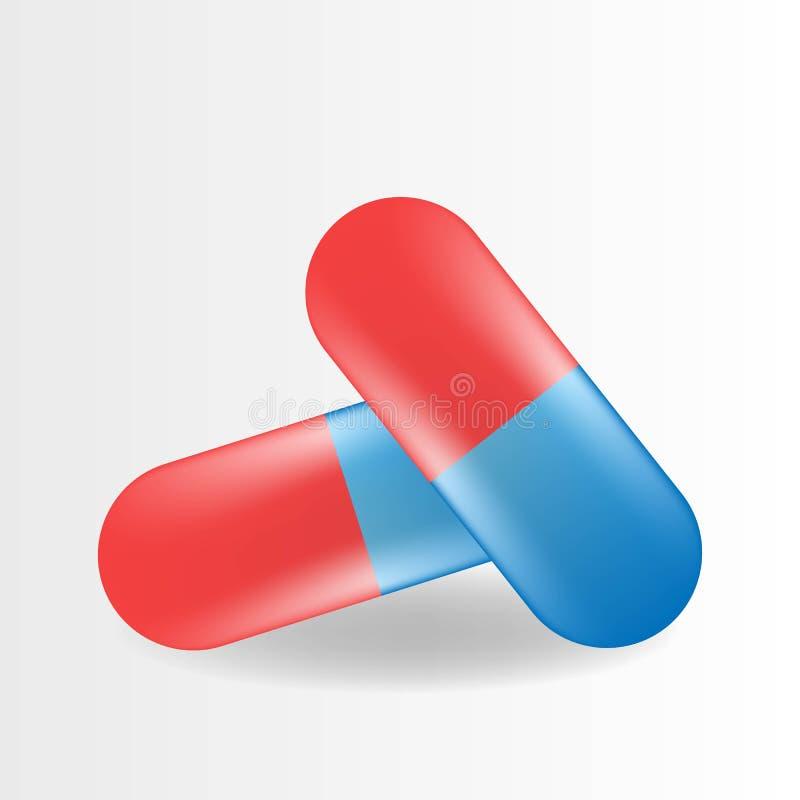 Пилюлька капсулы Реалистический волдырь таблеток с капсулами изолированными на предпосылке шток иллюстрации конструкции под векто бесплатная иллюстрация