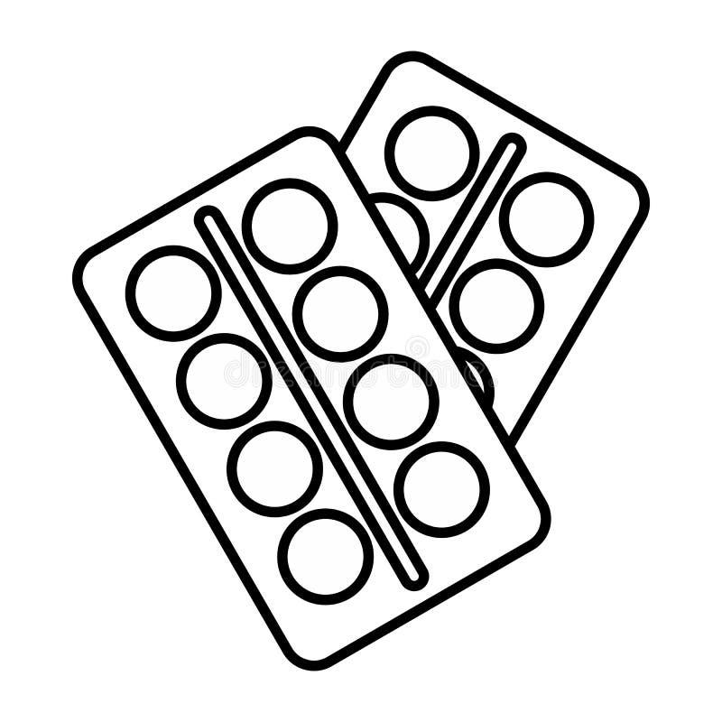 Пилюльки в значке пакета, стиле плана иллюстрация вектора