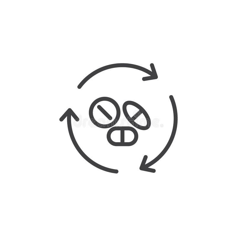 Пилюльки медицины с рециркулировать значок плана стрелок иллюстрация вектора
