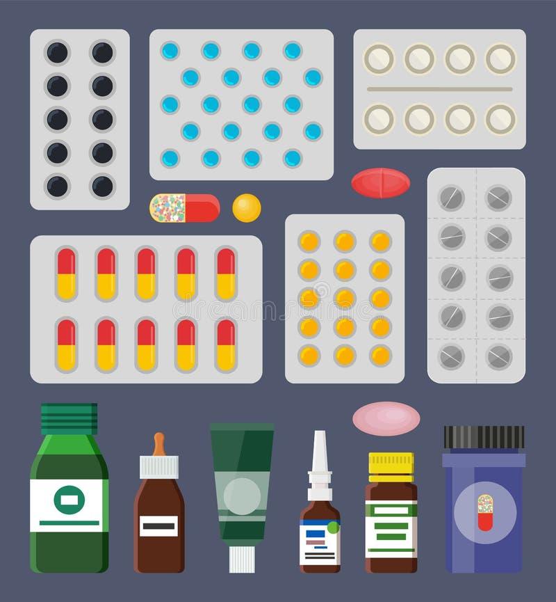 Пилюльки Packss и жидкостные медицинские середины в бутылках иллюстрация вектора