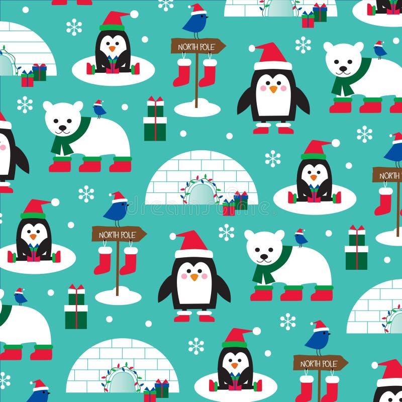 Пингвины зимы и полярные медведи иллюстрация штока