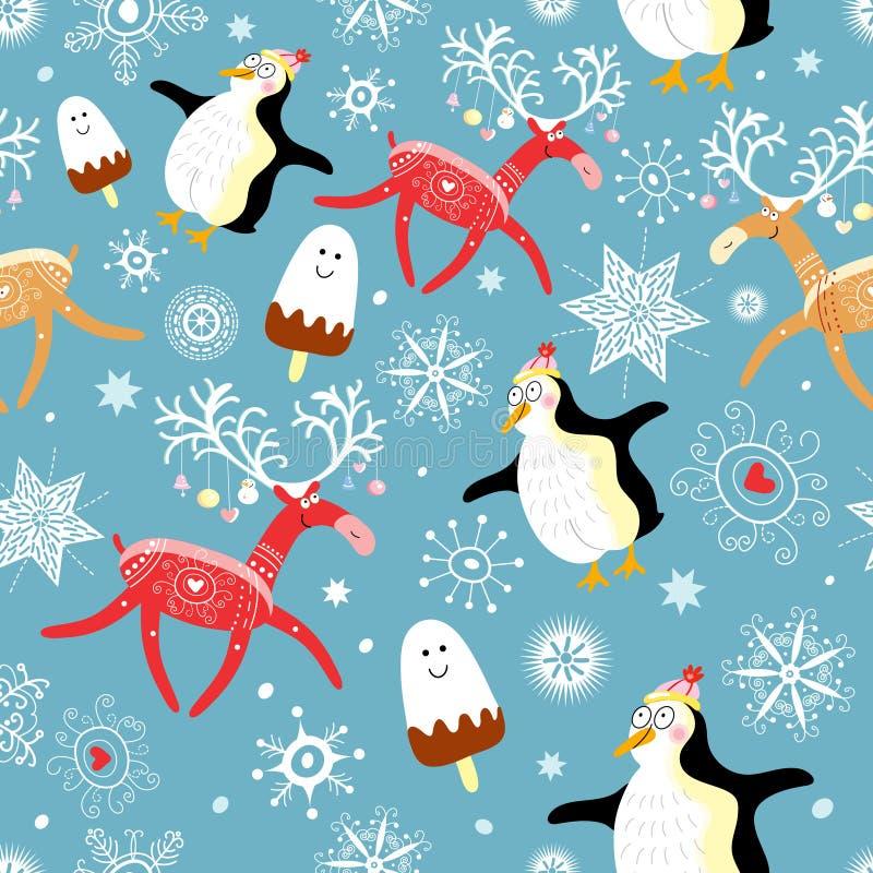 пингвины картины оленей смешные безшовные