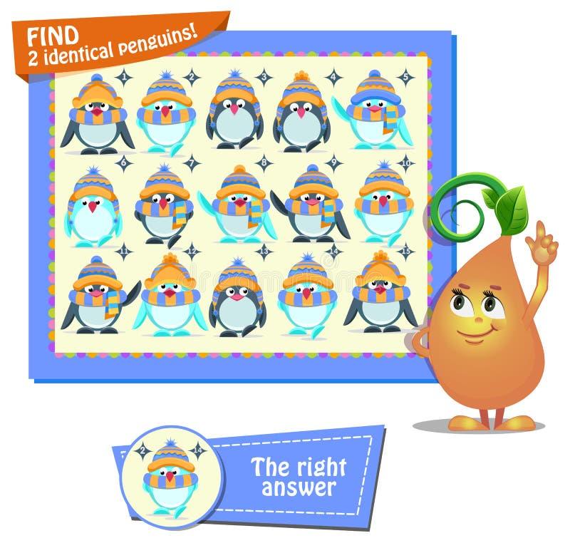Пингвины находки 2 идентичные иллюстрация вектора