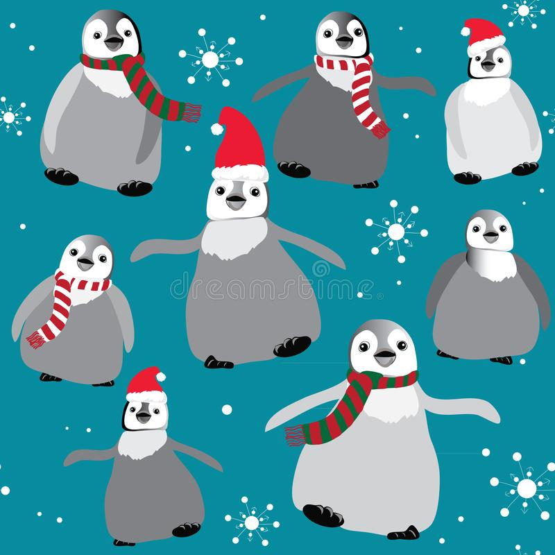 Пингвины с шляпами и шарфами рождества с картиной снежинок безшовной Иллюстрация вектора на голубой предпосылке иллюстрация вектора