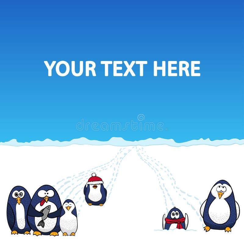 Пингвины шаржа в ландшафте снега приполюсном - vector предпосылка иллюстрация штока