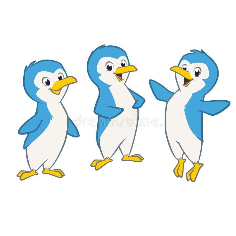 Пингвины шаржа иллюстрация штока