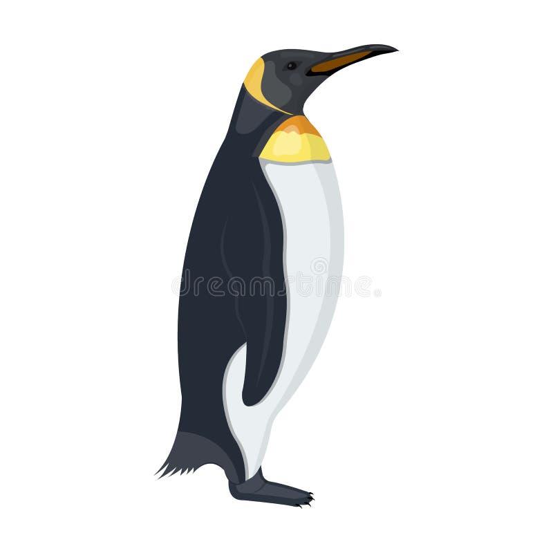 Пингвин, бескрылая птица моря Значок имперского пингвина одиночный в сети иллюстрации запаса символа вектора стиля шаржа иллюстрация штока