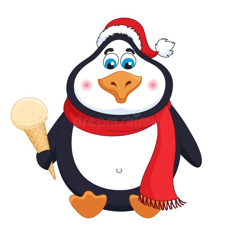 Пингвин мультфильма в красной шляпе с мороженым сливк карамельки в рожке сидит иллюстрация вектора