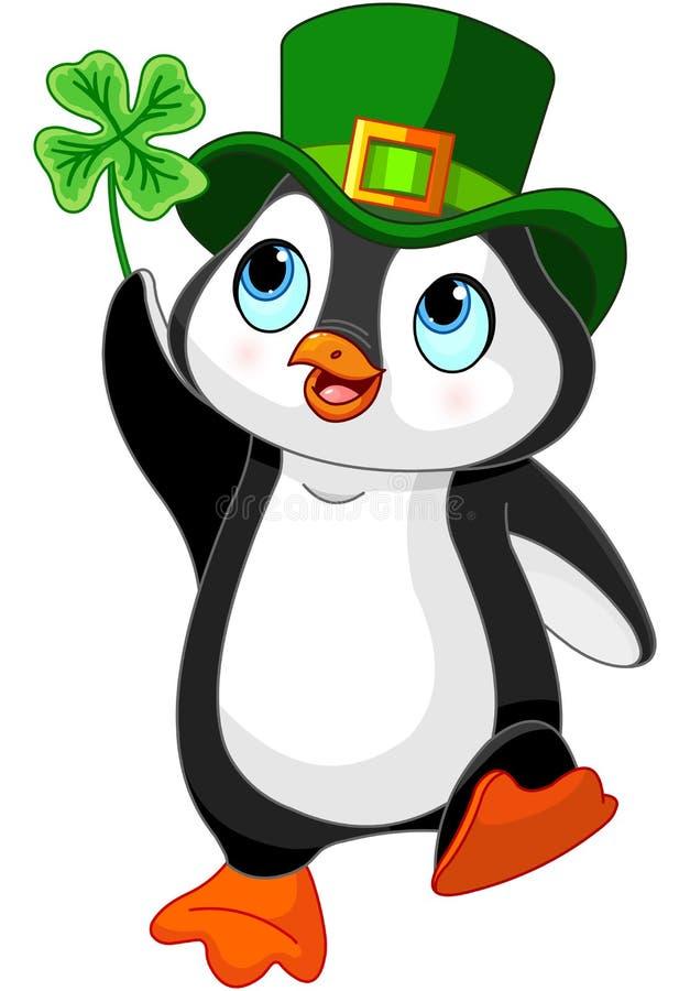 Пингвин празднует день St. Patrick иллюстрация штока