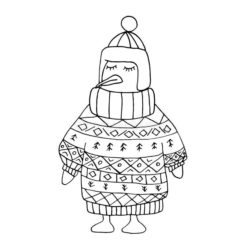 Пингвин расцветки без цвета в пуловере и крышке рождества зимы иллюстрация вектора