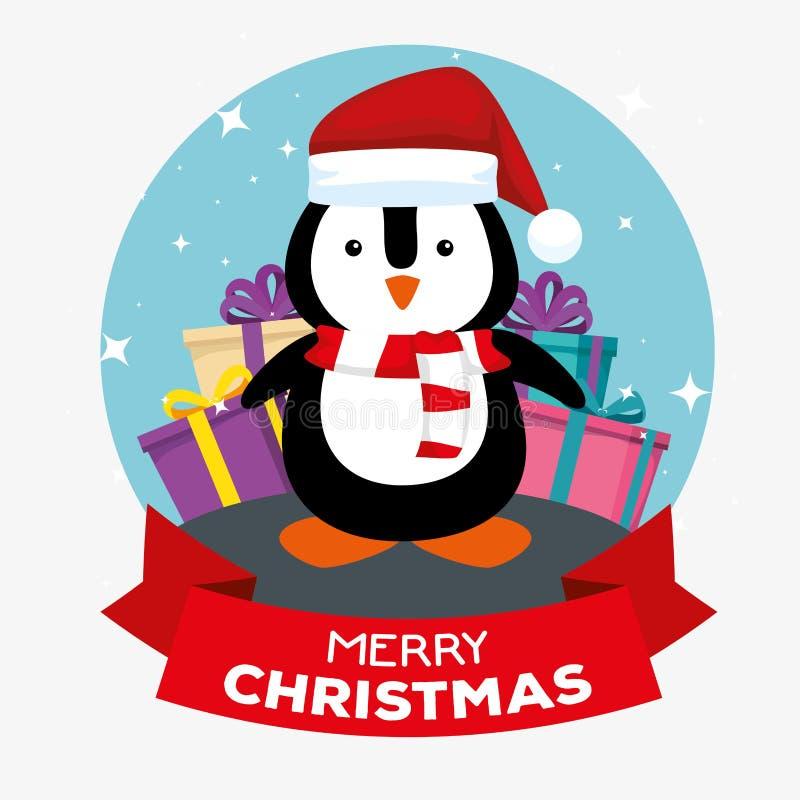 Пингвин со шляпой и подарками к веселому рождеству иллюстрация вектора