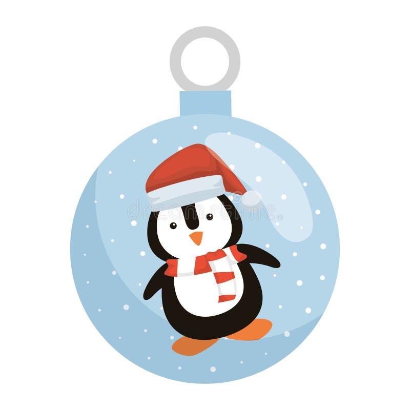 Пингвин со шляпой Санта Клауса в хрустальном шаре иллюстрация штока