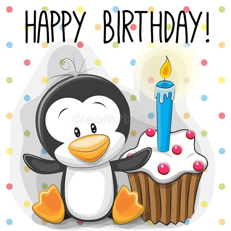 Пингвин с тортом иллюстрация вектора