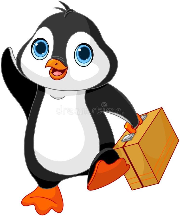 Пингвин с чемоданом иллюстрация штока