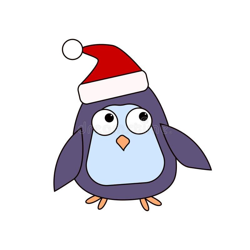 Пингвин шаржа в крышке ассистента ` s Санты Характер для ` s рождества и Нового Года конструирует также вектор иллюстрации притяж стоковые фотографии rf
