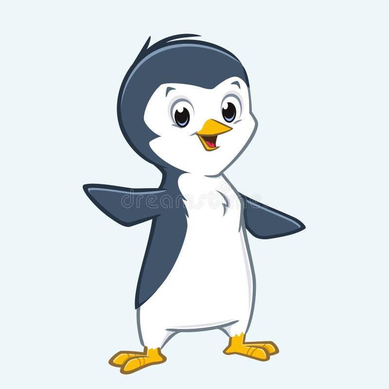 Пингвин шаржа милый иллюстрация вектора