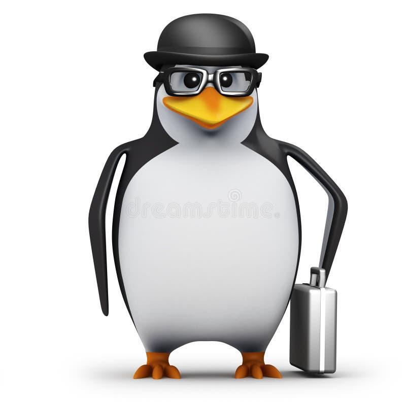 пингвин 3d в портфеле нося котелка бесплатная иллюстрация
