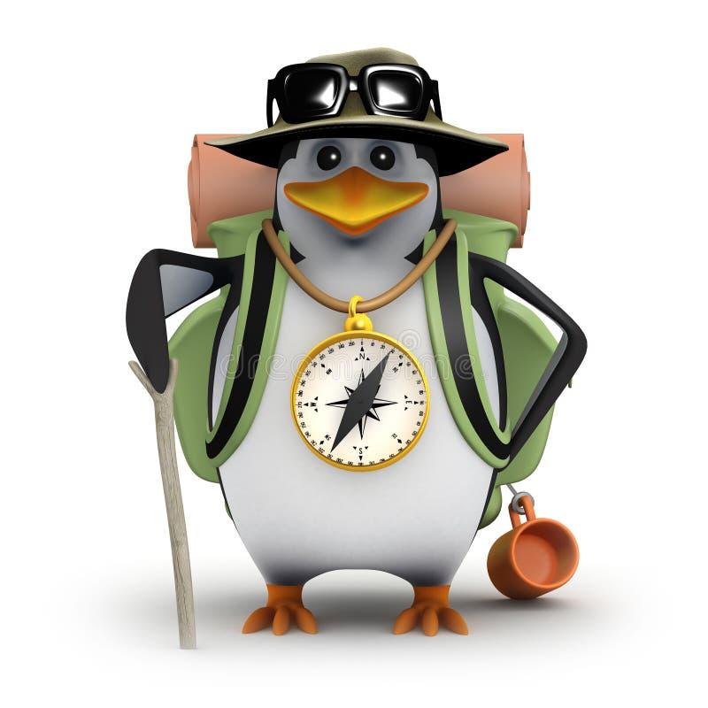 пингвин 3d идет иллюстрация штока