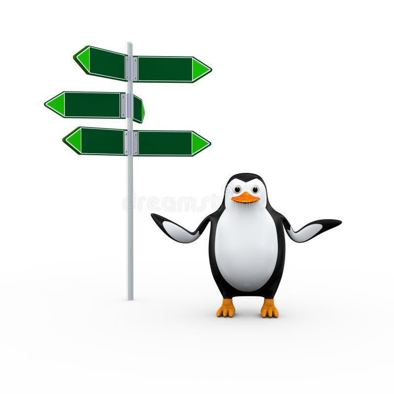 пингвин 3d и пустой дорожный знак иллюстрация вектора