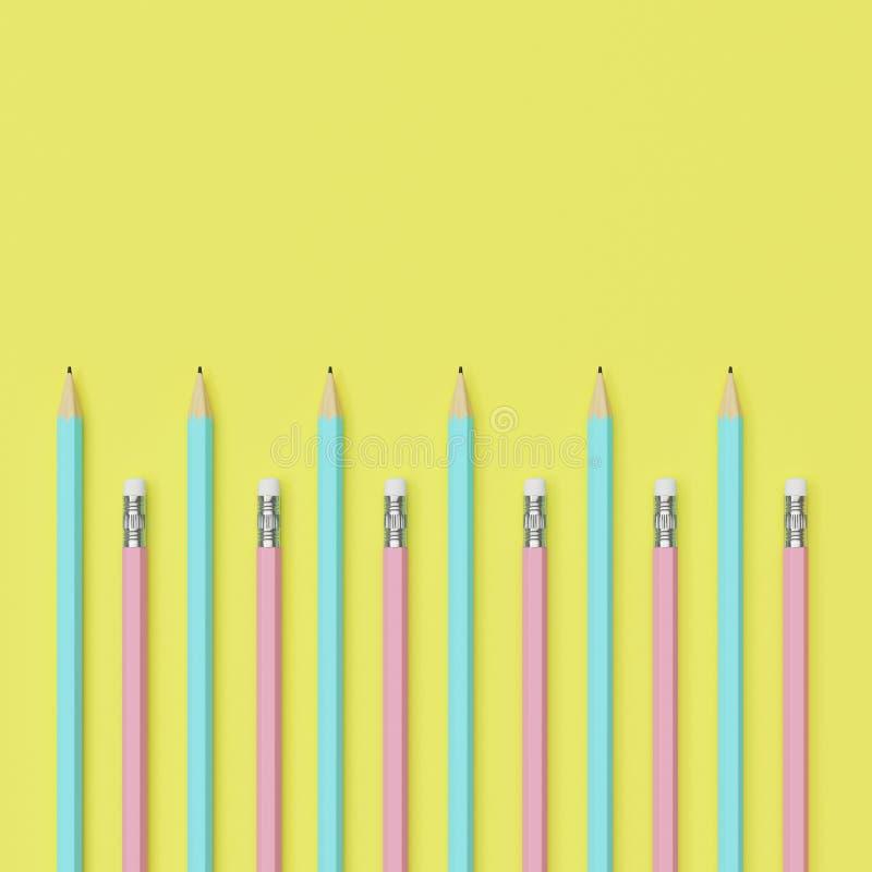 Пинки и карандаши сини на желтой предпосылке бесплатная иллюстрация