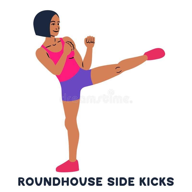 Пинки стороны локомотивного депо Бортовой пинок Exersice спорта Силуэты женщины делая тренировку Разминка, тренируя бесплатная иллюстрация