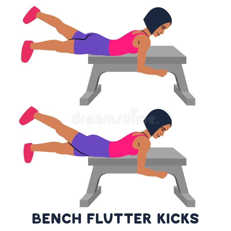 Пинки флаттера Суда Exersice спорта Силуэты женщины делая тренировку Разминка, тренируя бесплатная иллюстрация
