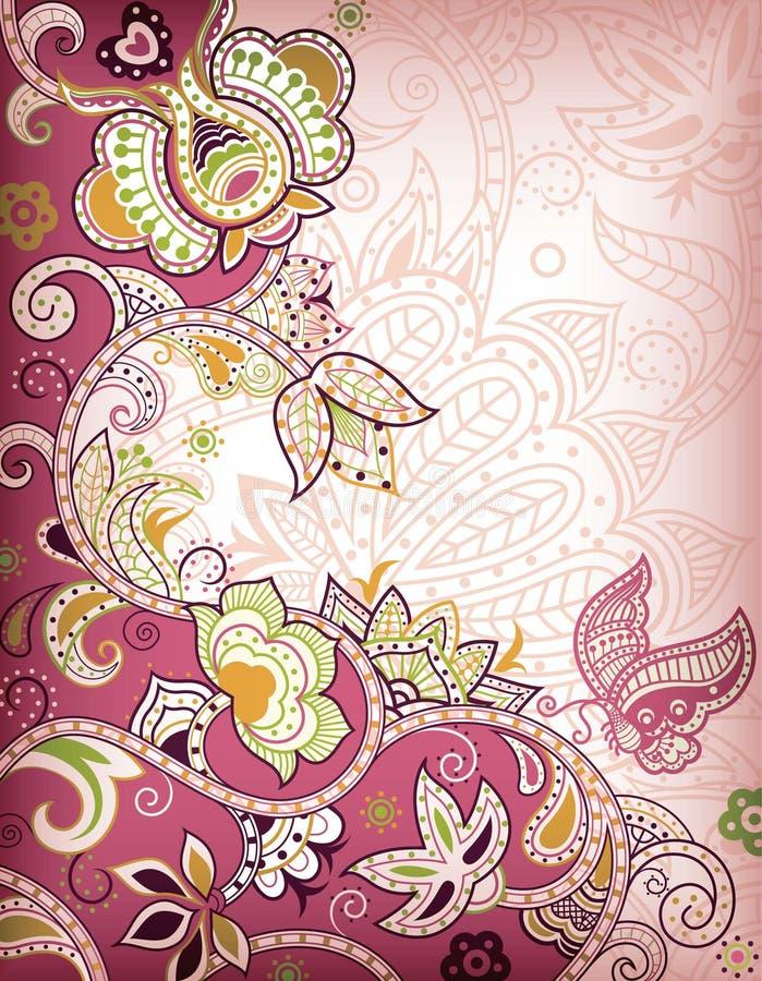 пинк бабочки флористический иллюстрация вектора